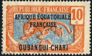 OUBANGUI-CHARI - 1925 - Yv.63/Mi.61 10c orange & bleu - Obl. TB