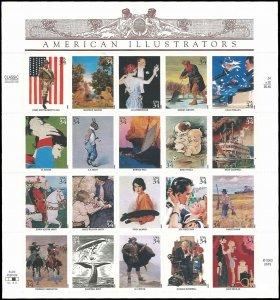 PCBstamps    US #3502 Pane $6.80(20x34c)American Illustrators, MNH (5)