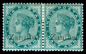 MOMEN: ZANZIBAR STAMPS SG #3,3k 1895-6 MINT OG H ZANIBAR ERROR