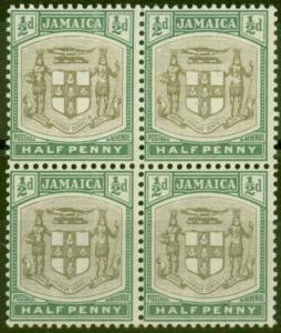 Jamaica 1903 1/2d Grey & Dull Green SG33 V.F MNH Block of 4