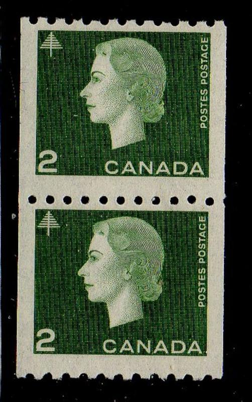 Canada Sc 406 1962 2c green QE II coil stamp pair mint  NH