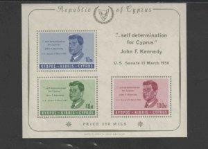 CYPRUS #253a  1965  JFK     MINT VF NH  O.G  S/S