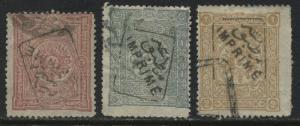 Turkey 1892 Newspaper stamps  20 paras, 1 & 2 pi, overprinted in black used (JD)