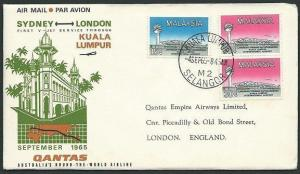 MALAYA 1965 Qantas first flight cover Kuala Lumpur to London..............39077