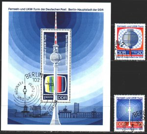 GDR. 1969. 1509-10, bl30. Television, tv tower. USED.