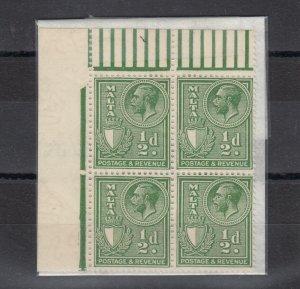 Malta KGV 1930 1/2d Colour Margin Block of 4 SG194 MNH J6743