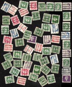 SALE CANADA LOT 60 PRECANCELLED STAMPS MIXED CONDITION SMALL FAULTS, SEE SCAN
