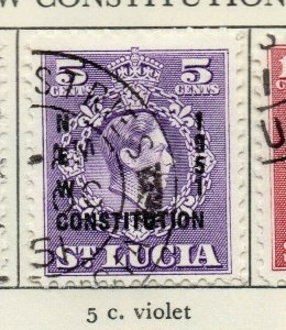 St Lucia 1951 GVI Early Issue Fine Used 5c. Optd NW-154994