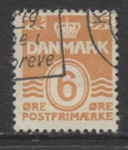 Denmark - Scott 224C - Definitive Issue -1940 - Used - Single 6o Stamp
