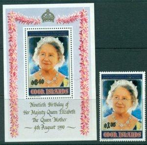 Cook Islands 1990 Scott 1040-1041 Queen Mom's 90th Birthday  MNH