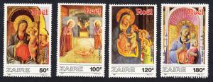 Zaire Christmas Paintings by Fr Angelico 4v SG#1279-1282 MI#945-948 SC#1237-1240