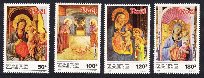 Zaire Christmas Paintings by Fr. Angelico 4v SG#1279-1282 SC#1237-1240