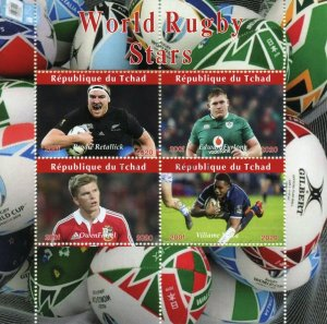 Chad Sports Stamps 2020 CTO World Rugby Stars Owen Farrell Edward Furlong 4v M/S