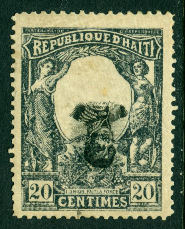 HAITI  1903 Cent. of Independence  20c slate & black Sc# 87 MH - INVERTED CENTRE