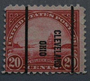 United States #567 20 Cent Golden Gate Cleveland Ohio Precancel Used
