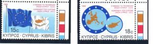 Cyprus Sc 699-700 1988 Customs Union stamp set mint NH