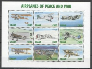 PK329 GHANA TRANSPORTATION AVIATION AIRPLANES OF PEACE & WAR 1KB MNH STAMPS
