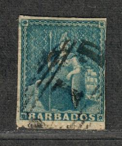 Barbados Sc#11 Used/F-VF, Pin-Perf 14, Cv. $175