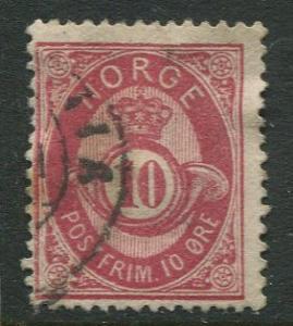 Norway - Scott 25 - Post Horn & Crown - 1877 - Used- Single 10s Stamp