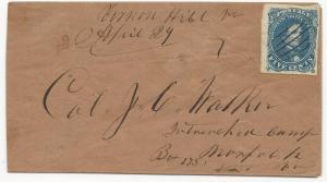 CSA Scott #4 Stone 2 on Cover Vernon Hill, VA April 29 (1862) VF Ex-Thayer