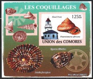 Comoro Islands. 2009. bl 2086V. Lighthouse, shells. MNH.