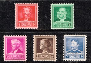 US STAMP #874-78 Famous Americans Series – Scientists 1940 MNH/OG