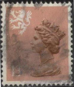 Great Britain: Scotland SMH22 (used) 13p Machin, lt red brn (perf.15x14) (1986)