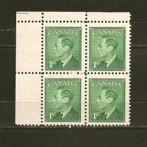 Canada 289 King George VI Block of 4 MNH