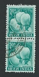 India Scott #416 50p Mangoes Pair (1967) used