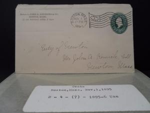 Troy NY 1898 flag cancel B14 1 on U312 1393 backstamp PDNY p.d.n.y. REC green