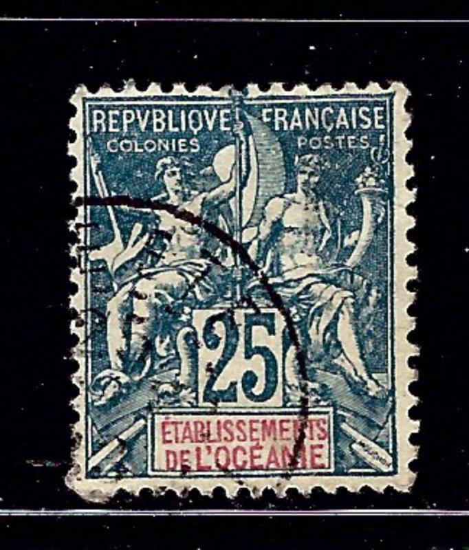 French Polynesia 12 Used 1900 issue small bit of paper on back