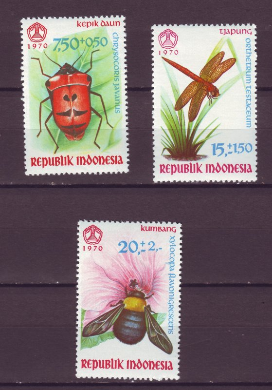 J25131 JLstamps 1970 indonesia set mnh #b223-5 insects