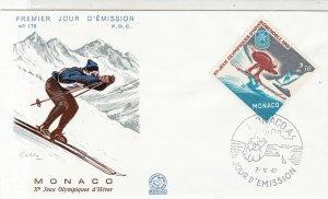 Monaco 1967 Olympic Games Mountain Skiing Picture FDC Skier Stamp Cover Ref26391