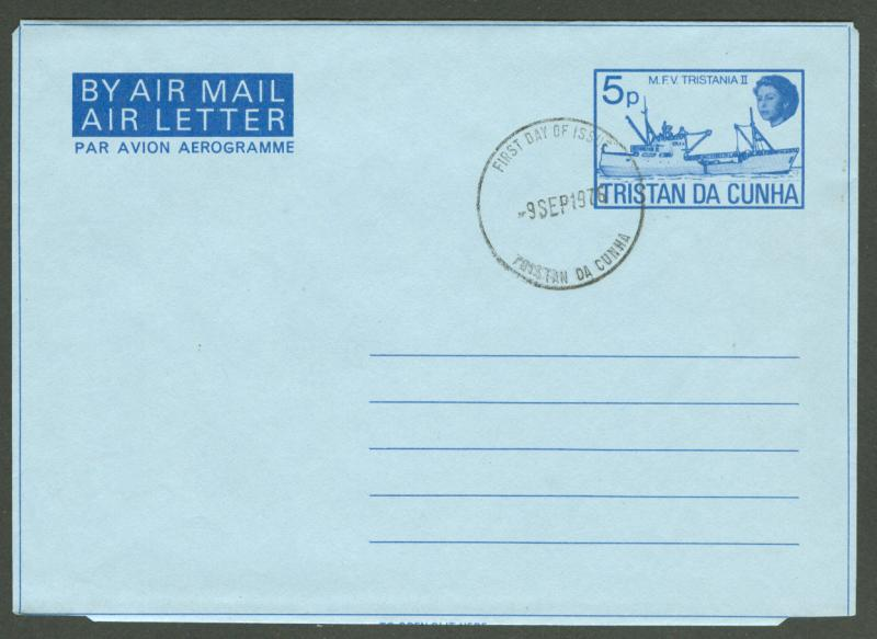 Tristan da Cunha Aerogramme - Ship - First Day Cancel (1)