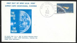 UNITED STATES Space Event Cover Race To The Moon c1962 Cape Canaveral Cacheted