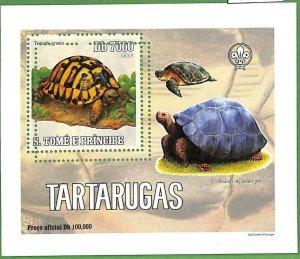 A0543 - S. TOME' & PRINCIPE - ERROR  MISSPERF SHEET -  Turtles BOY SCOUTS  2005
