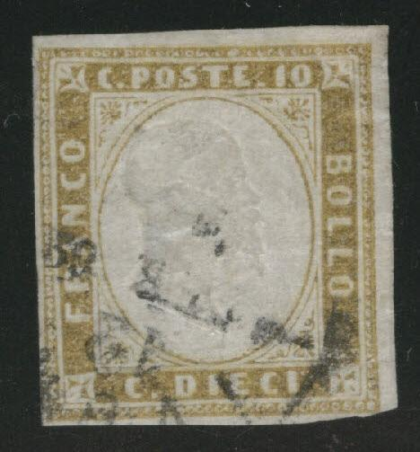 Sardinia Scott 11b Used 1862 olive bister color thinned