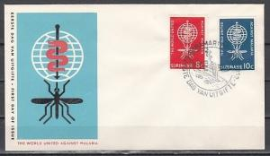 Suriname, Scott cat. 304-205. World Against Malaria issue. First day cover.