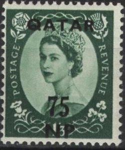 Qatar 11 (mnh) 75np on 1sh3p Elizabeth II, dk grn (1957)