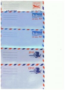 5 Unused Airmail letter Sheets  UX16, UX32, UX32A, UX38, US39