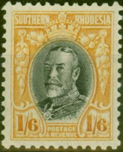 Southern Rhodesia 1933 1s6d Black & Yellow-Orange SG24a P.11.5 V.F Very Lightly