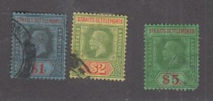 STRAITS SETTLEMENTS # 199-201 VF-KGV ISSUES $1-$5 LIGHTLY CANCELLED CAT VAL $56+