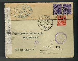 1945 Cairo Egypt Censored Cover to Prague Czechoslovakia Airmail G Levi Judaica