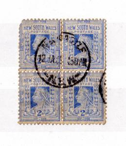 New South Wales QV 1897 2d Block of 4 Newcastle CDS Fine Used X7522