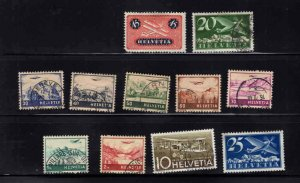 SWITZERLAND AIRMAIL COLLECTION LOT USED SOUND x11