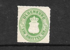 OLDENBURG 1862  1/3gr  GREEN MLH    Mi 15a