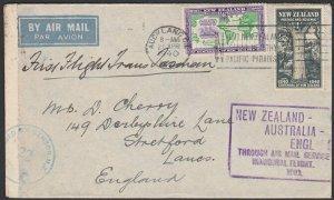 NEW ZEALAND 1940 First flight cover to UK - censor mark & tape..............E300