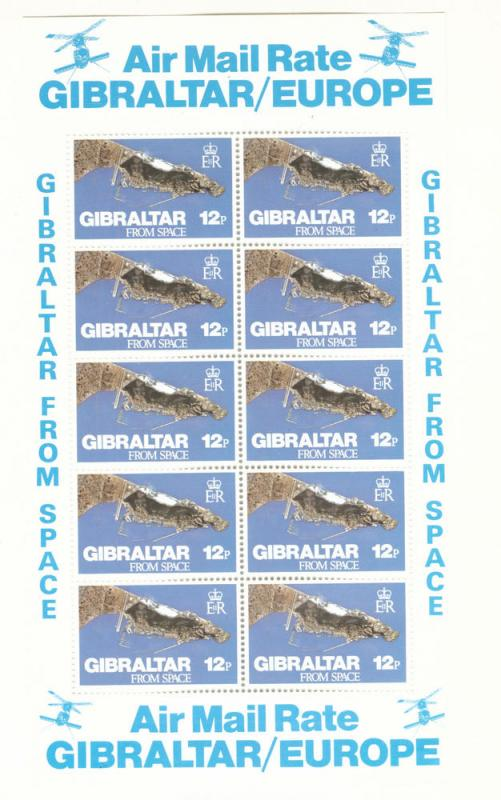 Gibraltar Scott 363 MNH** Satellite Map stamp Sheet