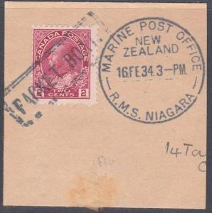 CANADA NEW ZEALAND 1934 MARINE POST OFFICE RMS NIAGARA cds on piece........54115