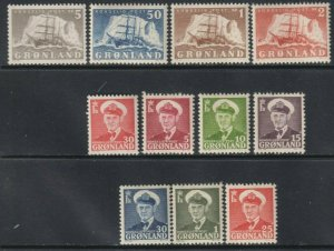 Sc# 28 / 38 Greenland 1950-60 Polar Ship & Frederik IX MLH set CV $124.90 St1